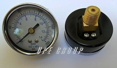"New air pressure gauge air compressor hydraulic 2"" face 0-200 back mnt 1/4"" npt"
