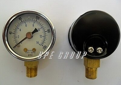 "NEW Pressure Gauge water oil gas air compressor 1.5""face 0-200 lower mnt 1/8""npt"