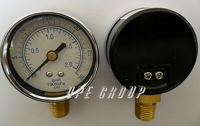 "NEW Pressure Gauge WOG air compressor hydraulic 2"" face  0-30 lower mnt 1/4"" npt"