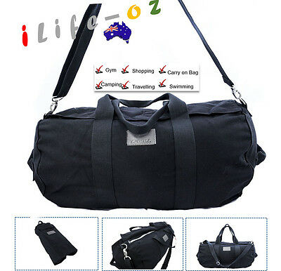 60CM LARGE Canvas School Gym Travel Overnight Duffle Bag Black