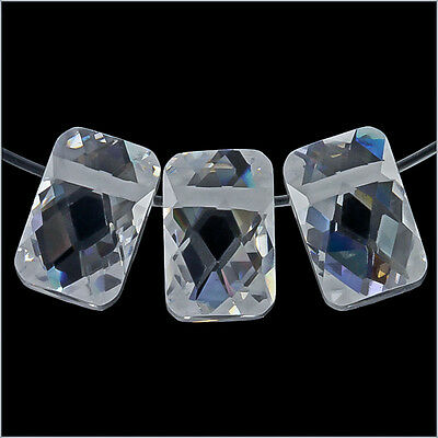 6 Cubic Zirconia Rectangle Side Drilled 6x9mm Clear #64132
