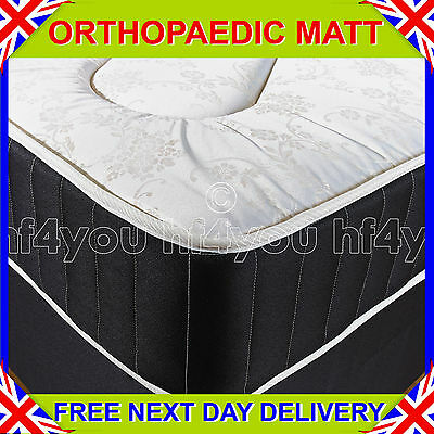 """NEW 4ft 6"""" Double BLACK FIRM 10"""" ORTHOPAEDIC DEEP QUILTED DAMASK MATTRESS"""