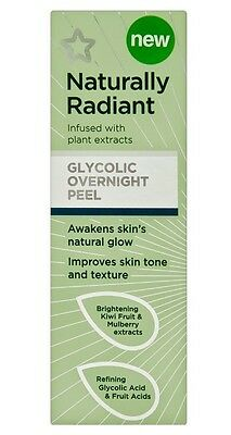 NATURALLY RADIANT Glycolic Overnight Peel -Awaken Improve Skin Glow Tone Texture