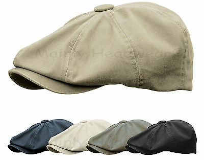 STONE WASHED COTTON Gatsby Cap Mens Newsboy Ivy Hat Golf Driving Flat Cabbie