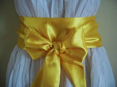 "3.5X85"" Yellow Satin Sash Wrap Fabric Belt Self Tie Bow Update Dress Party Prom"