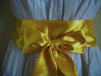 "2.5""x60"" Yellow Satin Fabric Sash Self Tie Bow Wrap Belt For Dress Party Prom"