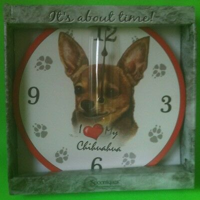 SPOONTIQUES I LOVE MY CHIHUAHUA DECORATIVE WALL CLOCK 11''X11'' NEW IN BOX
