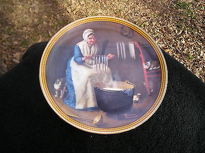 Rockwell Society Colonials Rarest Light for Winter Woman Making Candles Plate