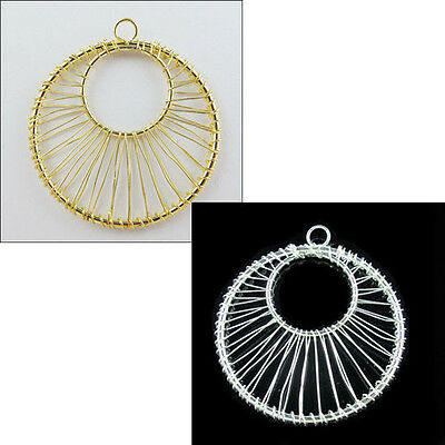 5Pcs Double-Circle Hollow Charms Pendants Gold Or Silver Plated 41x45mm S475