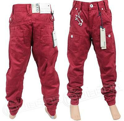 Boys New ETO EB259 Designer Casual Chinos Kids Cuffed Jeans in Red & Tan Colour