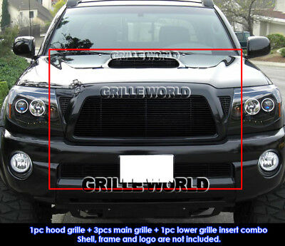 For 05-10 Toyota Tacoma TRD Sport Black Billet Grille Grill Combo Insert