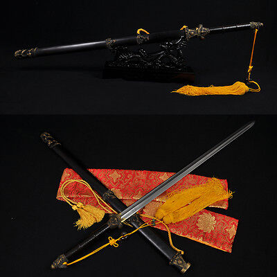 HIGH QUALITY HAND MADE CHINESE DRAGON SWORD JIAN (龍之劍) FOLDED STEEL BLADE