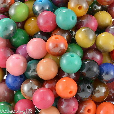 200PCs Style NEW!Mixed Acrylic Round Spacer Beads 10mm