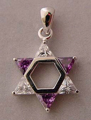Sterling Silver Jewish Star of David Alternating Colors- Purple Clear