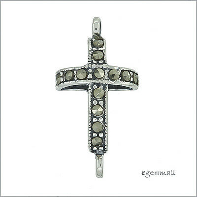 Sterling Silver Marcasite Cross Link Connector For Pendant Earring #51809