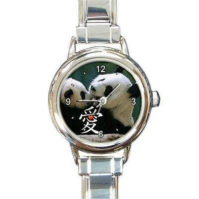 Big Chinese Love Heart Giant Pandas Collectible Italian Charm Round Watch