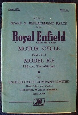 Royal Enfield Model R.e - Motorcycle Spares List -  June' 1953 #278/2 1/2 M-653