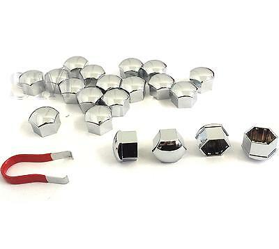 21mm Bolt Head Nut Covers Hexagonal Pack of 20 Caps Protectors CHROME Car Wheel