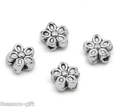 50PCs Silver Tone Flower Charms Spacers Beads 7mm