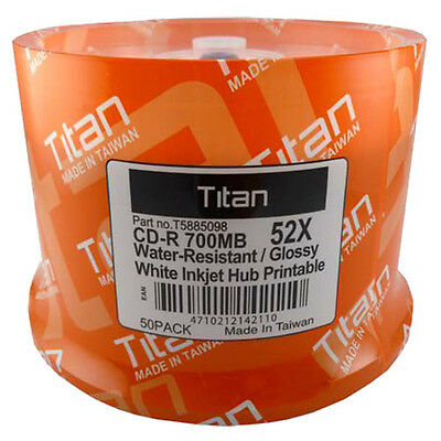 50 Titan CD-R 52X Semi-Gloss (Glossy) Water Resistant White Inkjet Printable