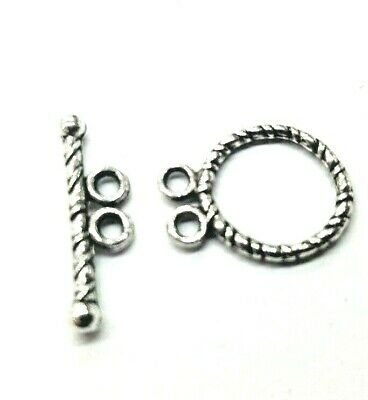 10 Sets of Tibetan Silver 2 Hole detailed Toggles Clasps - A6411 k2-accessories