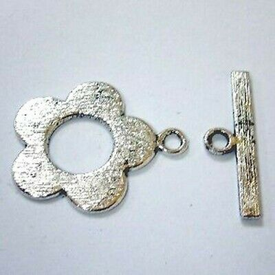 10 Sets Tibetan Silver Alloy Large flower Toggles Clasps A6415