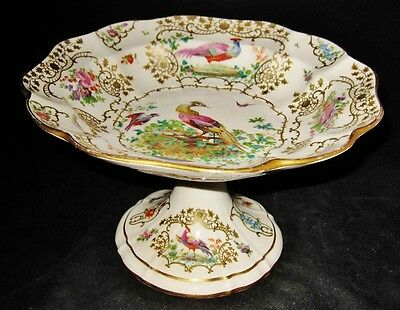 Booths CHELSEA BIRDS Hand Painted Footed Compote
