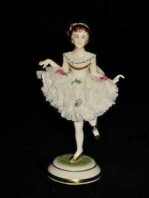Porcelain Lace Dancer Figurine marked Dresden, Germany with Crown, 4 3/4""