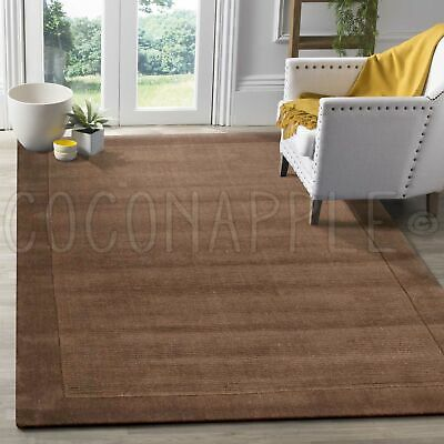 THICK HANDLOOMED NZ WOOL TAUPE MODERN FLOOR RUG (S) 115x165cm **FREE DELIVERY**