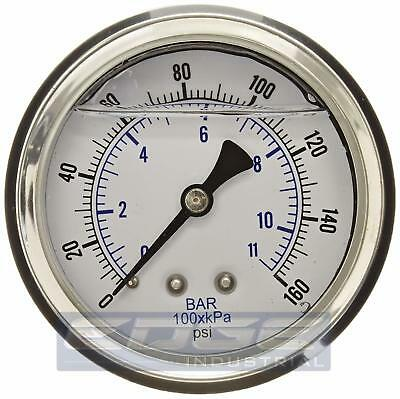 "Liquid Filled Pressure Gauge 0-160 Psi, 2.5"" Face, 1/4"" Back Mount Wog"