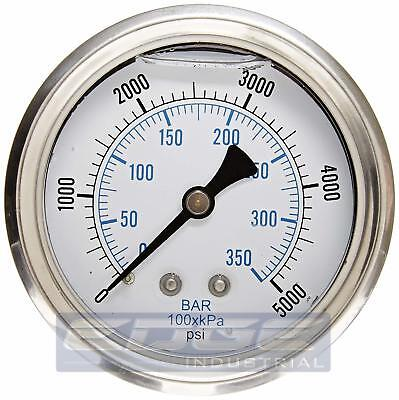 "Liquid Filled pressure gauge compressor Hydraulic 2.5""face 5000 psi back mt 1/4"""