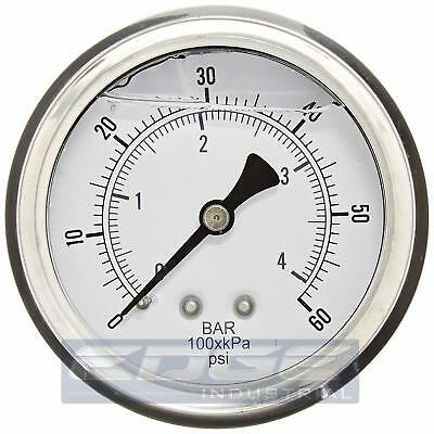"Liquid Filled Pressure Gauge 0-60 Psi, 2.5"" Face, 1/4"" Back Mount Wog"