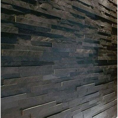 Splitface Black Slate Mosaic Tiles ( sample ) Z tile 3d stone cladding wall