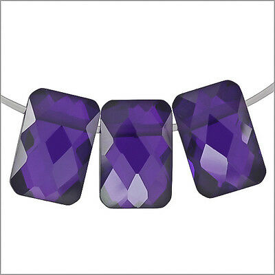 6 Cubic Zirconia Rectangle Cushion Beads 6x9mm Amethyst #96013
