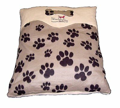 Brown Dog Cushion Fleece Paw Print Pet Cushion with Personalisation