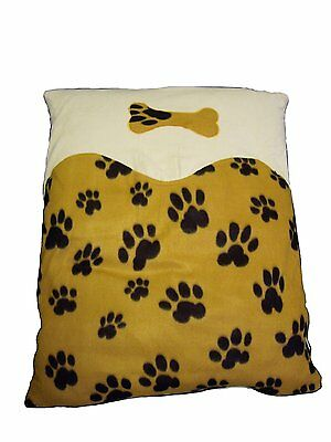 Yellow Dog Cushion Fleece Paw Print Pet Cushion with Personalisation