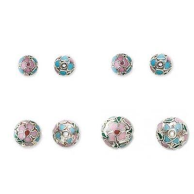 Lot of 10 Multicolored Round Metal Cloisonne Beads With Silver Lined Pink Flower