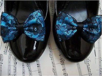 TURQUOISE SATIN BLACK FLORAL LACE SHOE CLIPS GLAMOUR BOWS 40s 50s VINTAGE STYLE