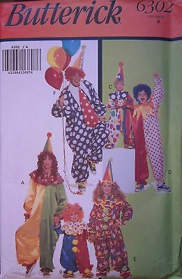6302 Vintage Butterick SEWING Pattern Child Adult Clown Halloween Costume UNCUT