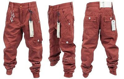 Brand New Kids ETO EB270 Designer Boys Cuffed Chino Jeans in Rust Red Colour
