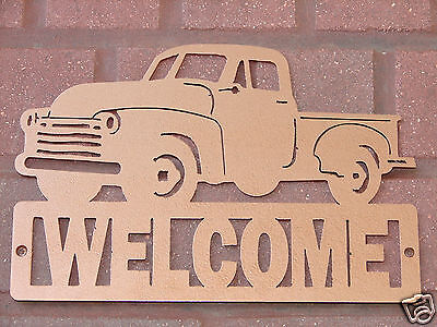 Vintage Pickup Truck WELCOME SIGN Home Decor Plaque Classic Ford Chevrolet Dodge
