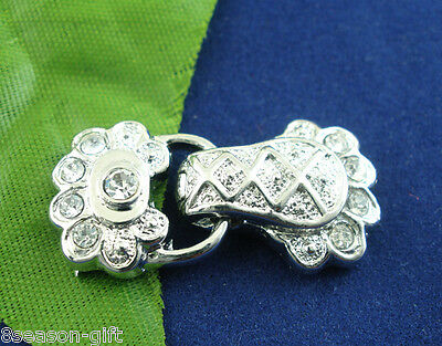 5 Sets 2 holes Rhinestone Magnetic Clasps 14x30mm
