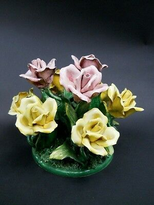 Vintage Capodimonte Pink and Yellow Rose Floral Bouquet Made in Italy