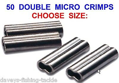 50 Double Micro Crimps Coarse Sea Fishing Mini Line Mono Wire Trace Sleeves Rigs