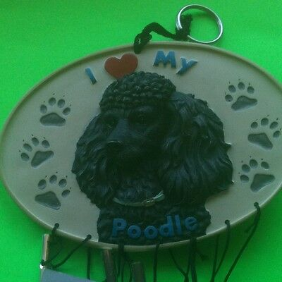 SPOONTIQUES COLLECTIBLE WIND CHIMES~I LOVE MY BLACK POODLE: NEW IN BOX! CERAMIC