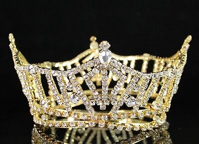 Miss America Full Crown Clear Austrian Rhinestone Hair Tiara Pageant T1297 Gold