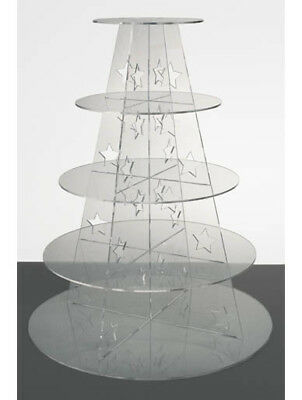 Star Stand 5 Tier Clear Round Acrylic Party CUPCAKE STAND