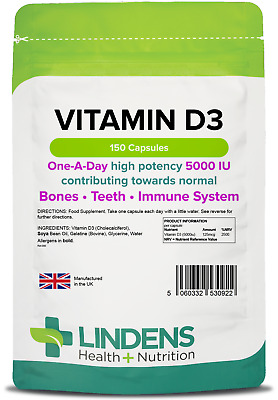 Vitamin D3 5000IU (150 Capsules) Bone, Teeth, Immune Health [Lindens 0922]