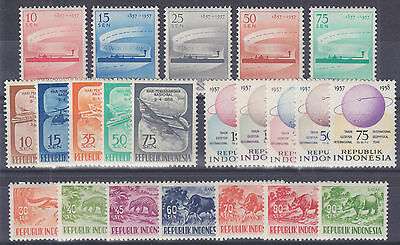 Indonesia Sc 436/456 MLH. 1957-1958 issues, 4 cplt sets VF