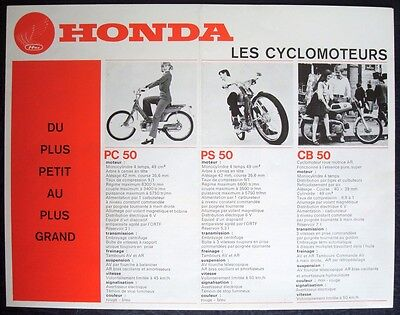 Honda Range - Motorcycle Sales Brochure - C.1970 - Pc50, Ps50, Cb50, C50 +More